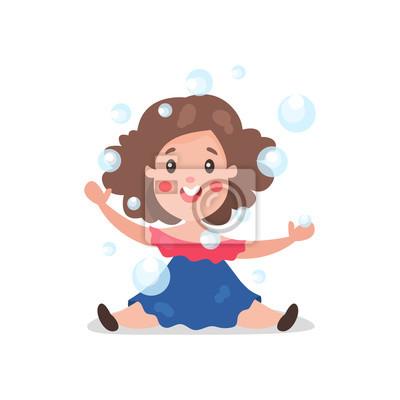 Sticker Brunette De Dessin Animé Doux Petite Fille Samuser à Jouer Avec
