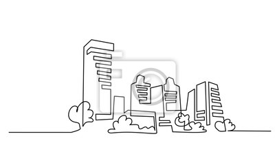 Sticker Building Cityscape One Line drawing Art Silhouette