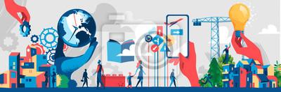 Sticker Building the modern society future concept - Vector