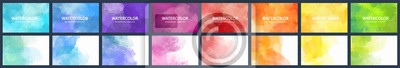 Sticker Bundle set of vector colorful watercolor backgrounds for business card or flyer template