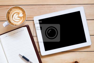Bureau bureau blanc écran tablette cahier stylo café