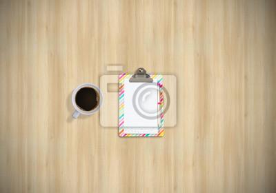 Bureau table affaires haut vue cahier café fond en bois