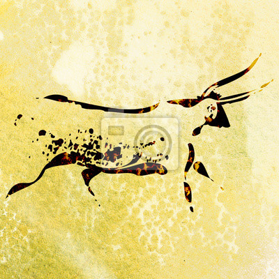 Bushmen san rock painting of bull