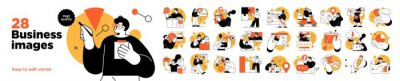 Sticker Business Concept illustrations. Mega set. Collection of scenes with men and women taking part in business activities. Vector illustration