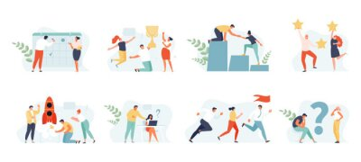 Sticker Business people set concept. Planning, startup, coaching and problem solving, success. Vector web illustrations
