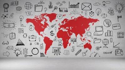 Sticker Business Symbole une baguette avec Weltkarte