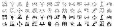 Sticker Business training and workshop excellent icons collection in two different styles