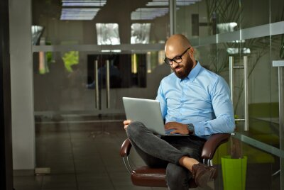 Sticker Businessman in a blue shirt sitting in a brown leather chair. Man with laptop in glasses. Bearded office worker at work.