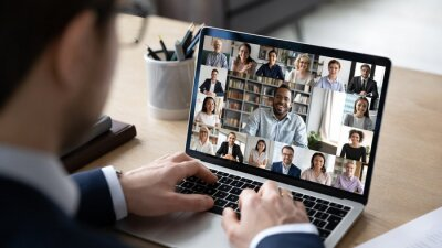 Sticker Businessman talking to team of colleagues on online video conference call on laptop. Screen view of coach, teacher and students attending webinar. Distance business meeting, remote work concept