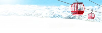 Sticker Cableway, funicular in the ski mountain resort, winter recreation and vacation concept. Hand drawn watercolor illustration and panoramic background with copy space