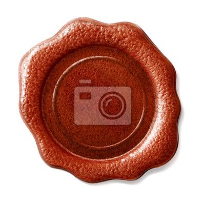 Cachet de cire rouge isolé sur blanc