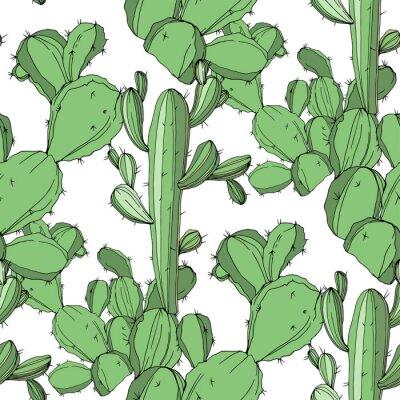 Sticker Cactus de vecteur. Encre gravée verte art. Motif de fond sans couture. Texture d'impression de papier peint en tissu.