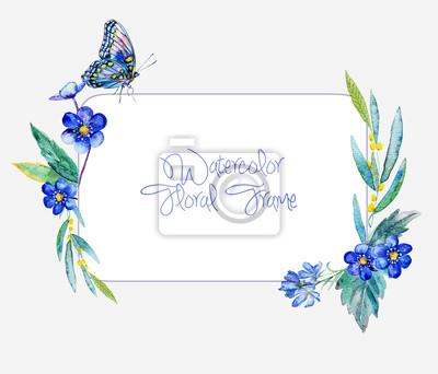 Cadre Aquarelle de fleurs bleues et papillon.