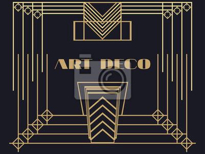 Cadre Art Déco Art Déco Cadre Vintage Géométrique Rétro Fond