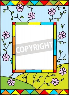 Sticker Cadre avec fleurs de printemps. Vitraux de style. Illustration vectorielle.