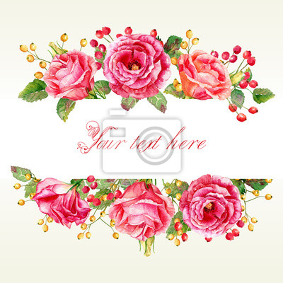 Cadre de l'aquarelle et de baies roses. Vintage floral carte de vœux. Peut être utilisé comme une carte de voeux pour le fond de la Saint-Valentin, anniversaire, le jour de mère, un mariage ou tout au
