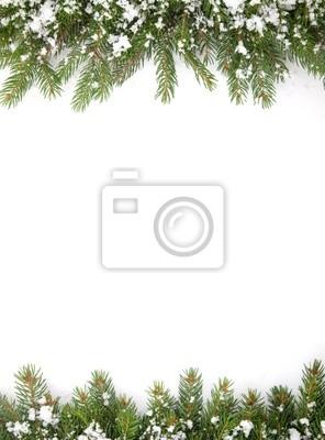 Cadre de Noël avec de la neige isolé sur fond blanc