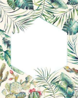 Sticker Cadre de plantes tropicales hexagonales. Carte d'été dessinés à la main avec cactus, branches exotiques, feuilles de bananier, palmier. Salut ou modèle de logo.