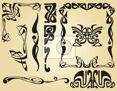 Cadre et des éléments de décoration art nouveau stickers pc portable ...