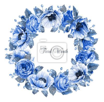 Cadre rond de roses d'aquarelle, des coquelicots et les baies.