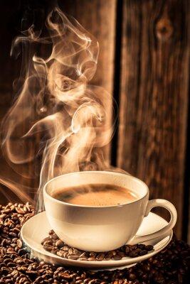 Sticker café Aroma tasse avec graines grillées