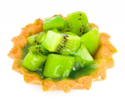 Sticker Cake aux fruits kiwi isolé sur blanc