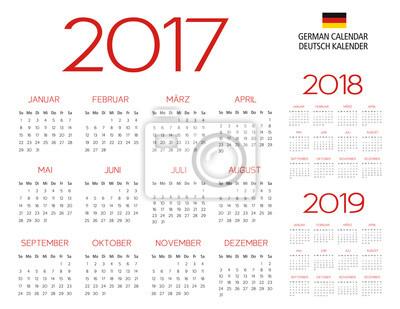 Sticker Calendrier Allemand 2017 2018 2019 Modèle