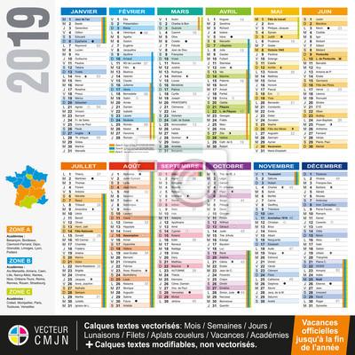 Calendrier Francais 2019.Sticker Calendrier Francais 2019 Avec Vacances Scolaires Officielles
