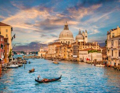 Sticker Canal Grande avec Santa Maria Della Salut au coucher du soleil, Venise, Italie