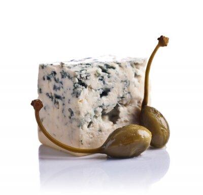 Sticker Cannes en conserve et fromage bleu sur fond blanc