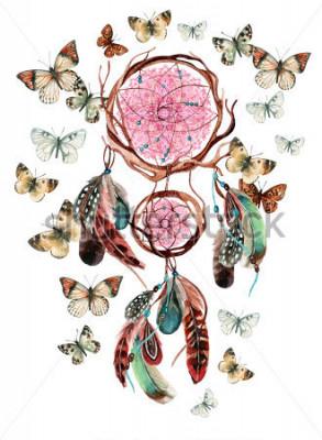 Sticker Capteur de rêves avec plumes et mandala. Dreamcatcher ethnique aquarelle et papillon isolé sur fond blanc. Illustration peinte à la main pour votre conception