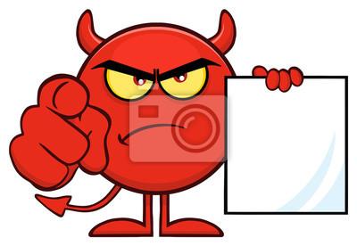 Caractere Demoji De Dessin Anime De Diable Rouge Fache Pointant Autocollants Murales Scarey Crabby Emoticones Myloview Fr