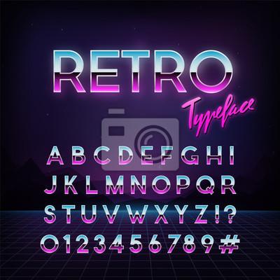 Sticker Caractère rétro futuriste. Style années 80 Alphabet de vecteur. Modèle pour votre conception.