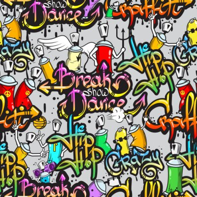 Sticker Caractères Graffiti, seamless