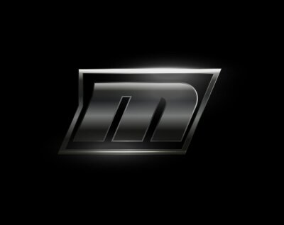 Sticker Carbon speed Letter M logo, dark matte metal carbon texture. Drive dynamic steel letter, turbo bold italic chrome logotype for automotive industrial, gym, sport. Vector monogram, emblem