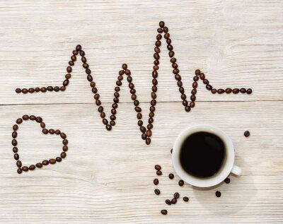 Sticker Cardiogramme, coeur, exposé, café, haricots, tasse, café