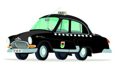 Sticker Caricatura GAZ Volga M21 taxi Prague - Checoslovaquia noir vue frontal et latérale