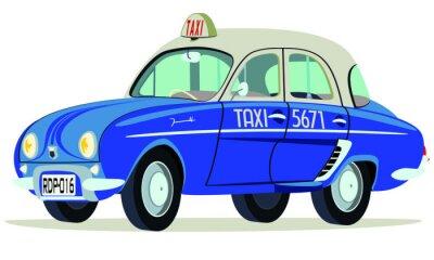 Sticker Caricatura Renault Dauphine Taxi Saigon - Vietnam vue frontal et latérale