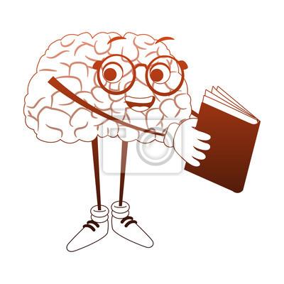 Sticker Caricature De Cerveau Drole En Lisant Un Graphisme De Livre Vector
