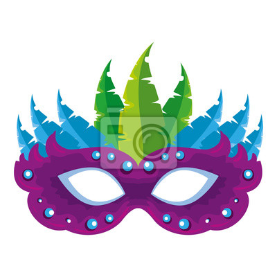 Sticker carnival mask with feathers vector illustration