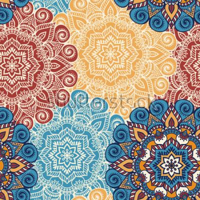 Sticker Carreau de modèle sans couture avec des mandalas. Éléments de décoration vintage. Fond dessiné à la main. Motifs islamiques, arabes, inde, ottomans. Parfait pour imprimer sur du tissu ou du papier.