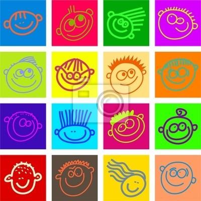Sticker Carreaux De Visage Heureux
