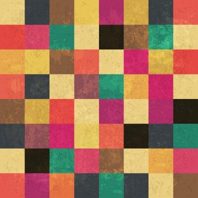 Sticker Carrés colorés âgés. Modèle sans soudure. Grunge couches peuvent être ea