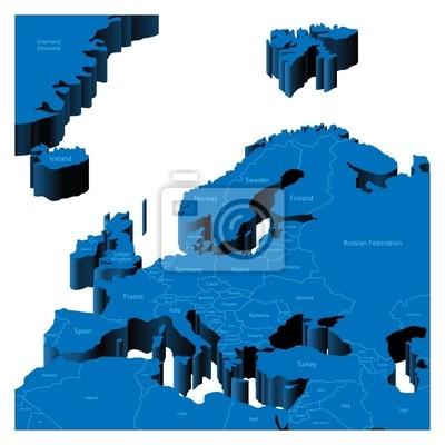 Carte 3d de la Région européenne