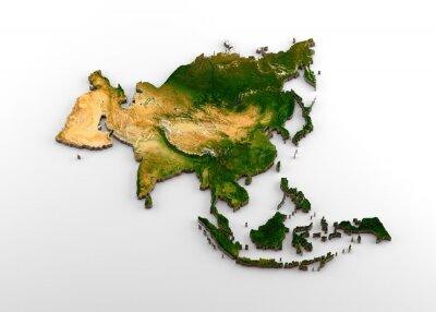 Sticker Carte 3D extrudée réaliste du continent asiatique (comprenant le sous-continent indien, l'Asie de l'Est, la Russie et le Moyen-Orient)