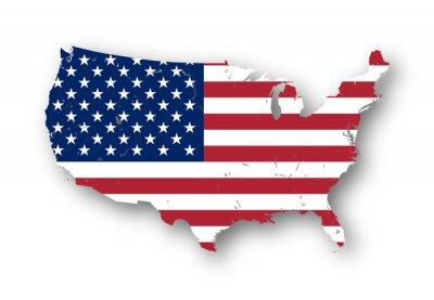 Sticker Carte à haute résolution des Etats-Unis avec le drapeau américain. Vous pouvez facilement supprimer les ombres, ou de remplir la carte dans une couleur différente - chemin de détourage inclus.