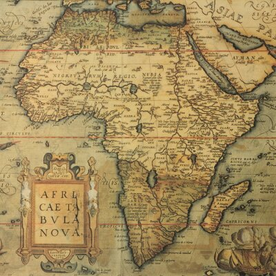 Sticker Carte antique carte de l'Afrique par le cartographe néerlandais Abraham Ortelius