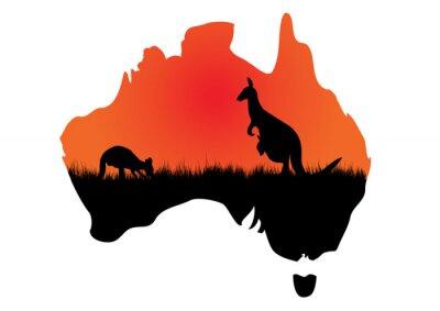 Sticker Carte australienne avec kangaaroo