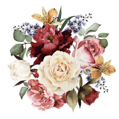 Sticker Carte avec des roses, aquarelle salutation, peut être utilisé comme invitation