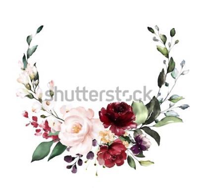 Sticker Carte. Conception d'invitation aquarelle avec des roses rouges et bordeaux, feuilles. fleur, fond avec des éléments floraux, illustration aquarelle botanique. Modèle vintage. couronne, cadre rond